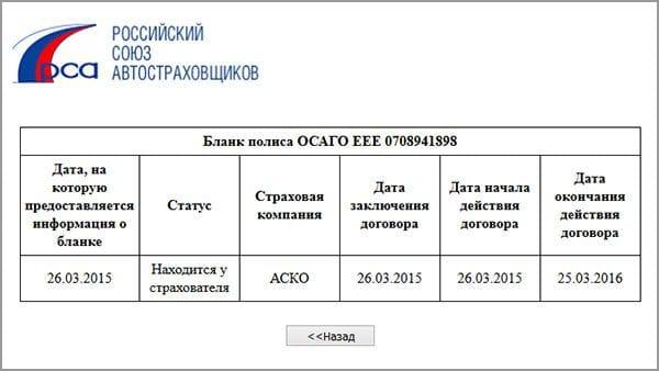 Результат проверки полиса ОСАГО по базе РСА